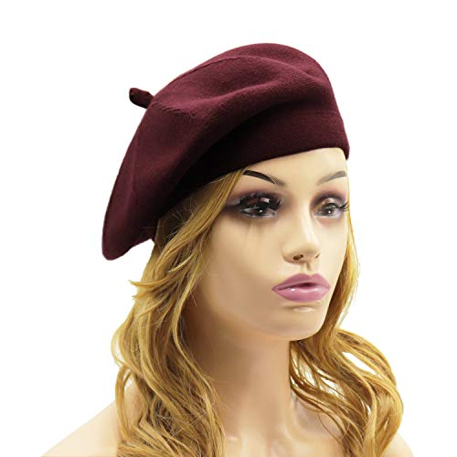Knit Beanie Reversible Maroon (French Beret Hat,Reversible Solid Color Cashmere Beret Cap for Womens Girls Lady Adults (Burgundy1))