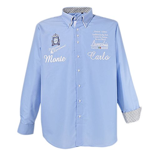 Modernes Herren Hemd in Übergröße von Lavecchia mit aufwendiger Stickerei in hellblau