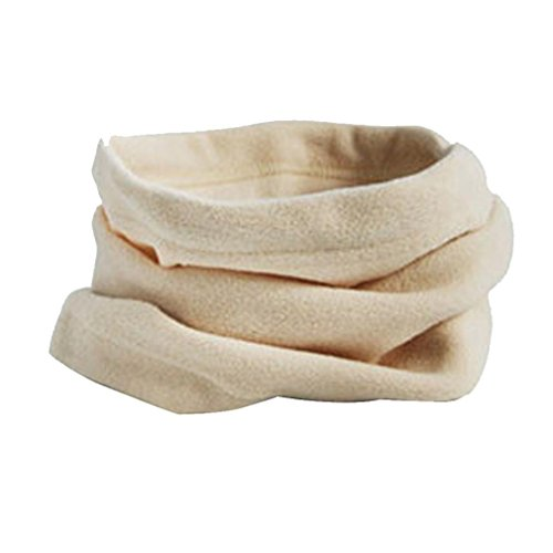 Kimloog 3 In 1 Men Women Unisex Polar Fleece Warm Hat Soft Neck Scarf Sheer Face Mask Cap (Beige)