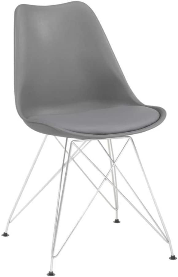 Coaster Home Furnishings Athena Upholstered Grey and Chrome (Set of 2) Side Chair