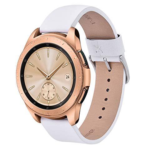 V-MORO for Galaxy Watch 42mm / Gear Sport Bands, 20mm Soft Leather Band Bracelet Strap Wristband for Samsung Galaxy Watch 42mm R810 & Samsung Gear Sport Watch/Garmin Vivoactive 3 Men Women White
