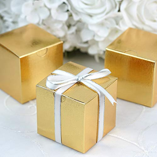 Efavormart 100 pcs of 3x3x3 Gold Favor Candy Box for Candy Treat Gift Wrap Box Party Favor Boxes for Bridal Shower Wedding Party