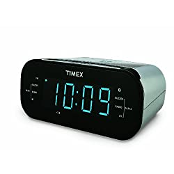 Timex T331S Bluetooth AM/FM Dual Alarm Clock Radio with 1.2-Inch Blue Display and Line-in Jack (Silver)