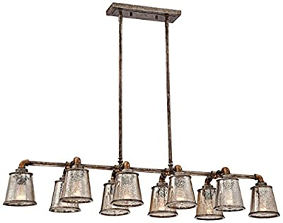 "Fillmore 47 1/2"" Wide Industrial Rust Island Chandelier"