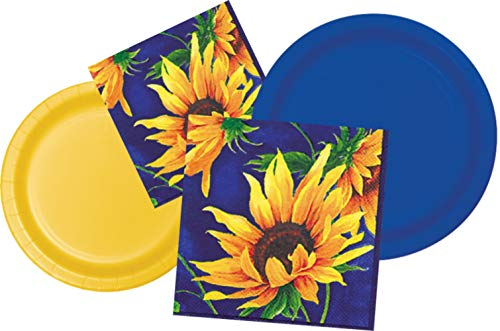 Sunflower Themed Party Supplies: Bundle Includes Paper Plates and Napkins for 20 People in Sunflower Yellow and Blue (Fire Pit Flower)