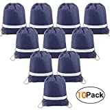 Navy-Drawstring-Bags-Backpack Reflective in Bulk 10 Pack, Cheap Sports Gym Sack Pack Cinch Bag with Strings