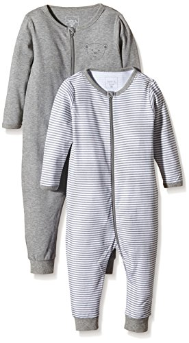 NAME IT Baby-Jungen Schlafstrampler NITNIGHTSUIT ZIP M NOOS, 2er Pack, Gr. 104, Mehrfarbig (Grey Melange)