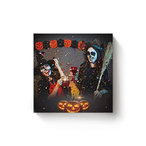 (YEHO Art Gallery Canvas Wall Art Square Artwork Christmas Office Home Decor,Party Halloween Girls Pattern Pictures,Stretched by Wooden Frame,Ready to Hang,16 x 16)