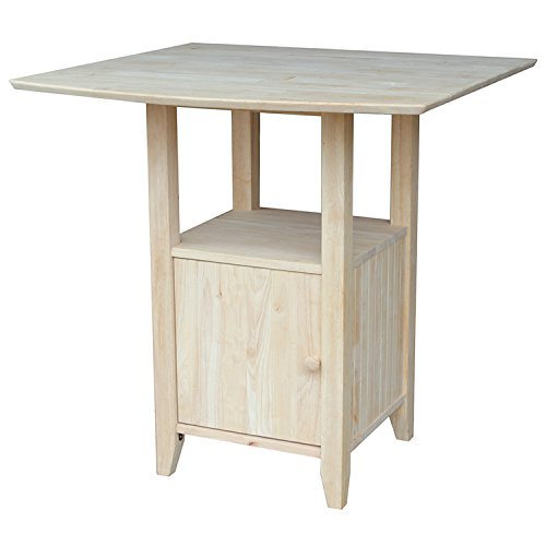 International Concepts Dual Drop Leaf Bar Height Bistro Table with Storage