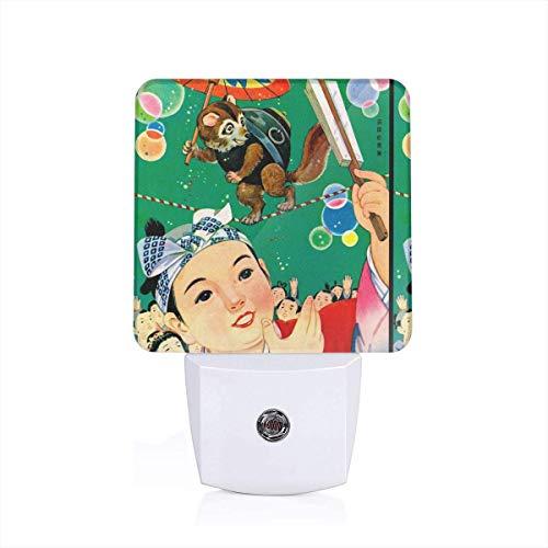 Vintage Traditional Oriental Village Umbrella Circus Kimono Geisha Boys Folk Story Ninja Samurai Badgers Raccoons Plug-in LED Night Light Lamp with Light Sensor, Auto On/Off, Energy Efficient