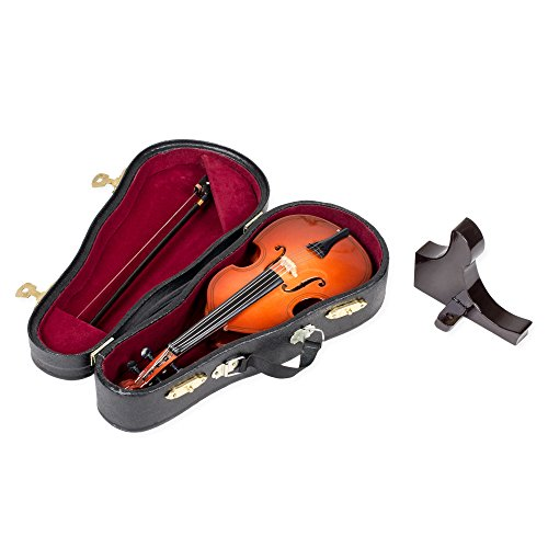Upright Bass With Stand And Case Mahogany Tone 6 x 7.5 Wood Music Box Figurine (Best Upright Bass Case)