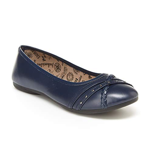 Harborsides Glare Women's Flats: Ballet Shoes with Comfortable Slip On Style Navy ()