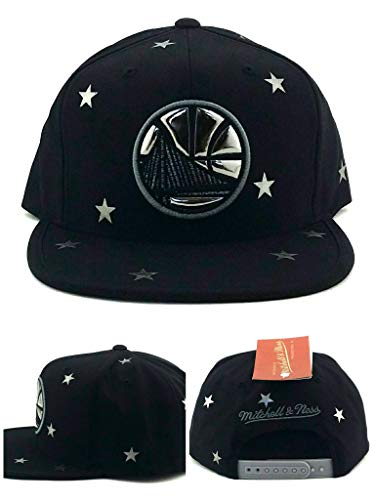 Mitchell & Ness Golden State Warriors New Chrome Foil Star Black Gray Era Snapback Hat Cap