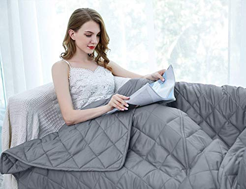 ZZZhen Weighted Blanket - Cool Breathability for Summer- 48''72'' 15LBs - Premium Quality Heavy Blankets - Calm Sleeping for Adult and Kids, Durable Quilts and Quality Construction