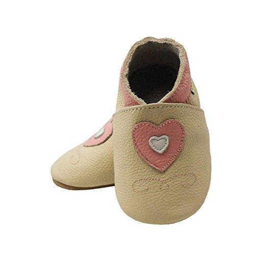 Sayoyo Hearts WeichesLeder Lauflernschuhe Krabbelschuhe Babyschuhe Beige