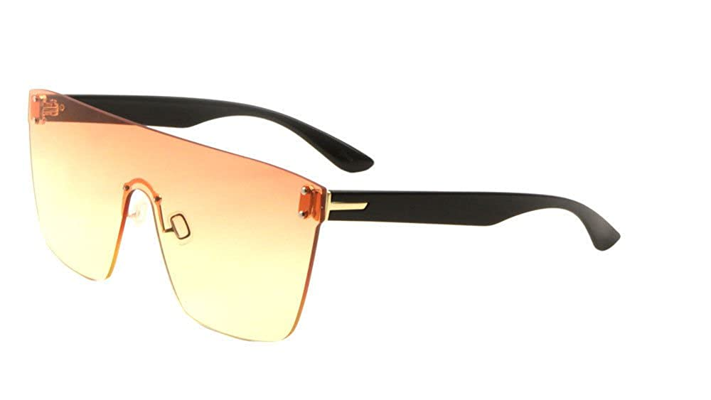 46f057020f9 Amazon.com  Flat Top Oversized Rimless One Piece Shield Sunglasses (Black    Gold Frame