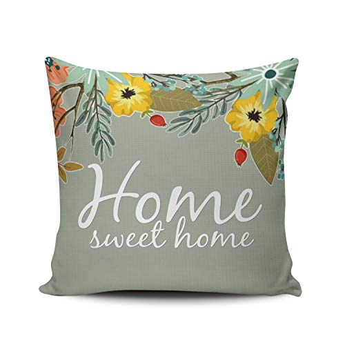 XIUBA Throw Pillow Covers Case Yellow Red and White Home Sweet Home Green Floral Decorative Pillowcase Cushion Cover 18 x 18 inch Square Size One Side Design Printed