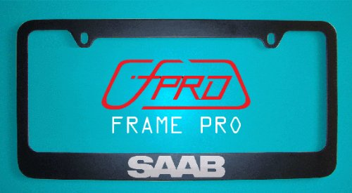 Saab Black License Plate Frame (Zinc Metal)
