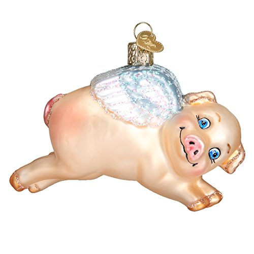Pig Glass Blown (Old World Christmas Glass Blown Ornament with S-Hook and Gift Box, More Animals Collection (Flying Pig))