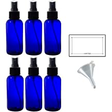 4 oz Cobalt Blue Glass Boston Round Fine Mist Spray Bottle (6 pack) + Funnel and Labels for essential oils, aromatherapy, food grade, bpa free
