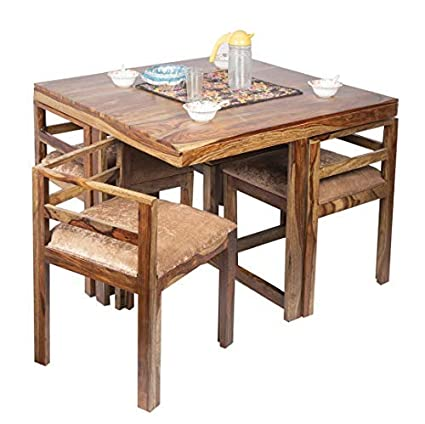 Ikiriya Sheesham Wood Compact 4 Seat Dining Table Set Cushioned Chairs Teak Finish Ivory Velvet Amazon In Home Kitchen