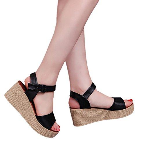 Winwintom Moda Mujer Verano pendiente con Chanclas Sandalias mocasines zapatos Negro
