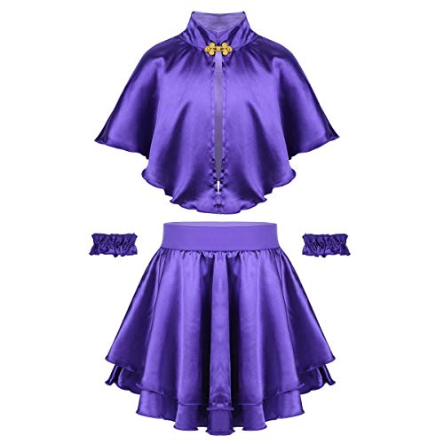 ACSUSS Kids Girls Greatest Show Anne Wheeler Costume Cape Tops with Pleated Skirt Wristband Outfits Purple 6-8]()