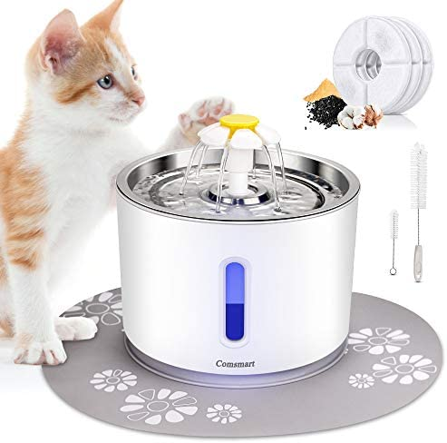 Comsmart Cat Water Fountain, 81oz 2.4L LED Pet Fountain Stainless Steel Automatic Drinking Water Dispenser for Cats, Dogs, Other Pets