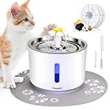 Comsmart Cat Water Fountain - 81oz 2.4L LED Pet Fountain Stainless Steel Automatic Drinking Water Dispenser for Cats - Dogs - Other Pets