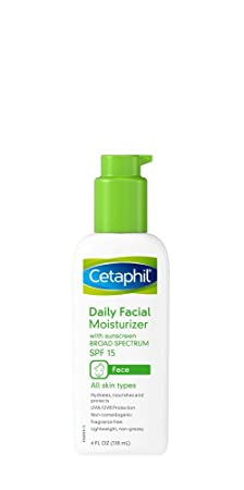 Cetaphil Daily Facial Moisturizer with Sunscreen Broad Spectrum SPF 15, Fragrance Free, 4 oz Pack of 2
