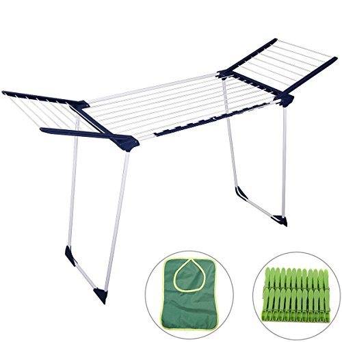 Drynatural Winged Drying Rack Large Foldable Standing Laundry Dryer of 52.5ft Drying Space with Plastic Pegs and Peg Bag