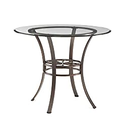 Lucianna Round Dining Table Glass Top W/ Brown Metal Frame Chic Finish