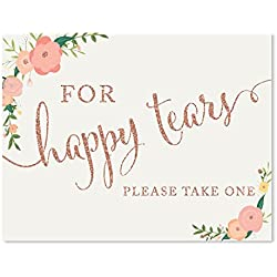 Andaz Press Wedding Party Signs, Faux Rose Gold Glitter with Florals, 8.5x11-inch, For Happy Tears Tissue Kleenex Ceremony Sign, 1-Pack, Colored Decorations
