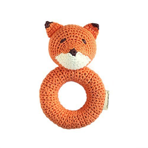Cheengoo Organic Crocheted Fox Ring Rattle -