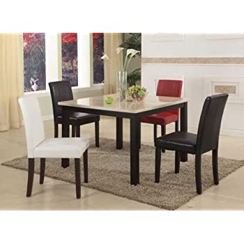 Amazon Com Gtu Furniture Ivory Black Faux Marble Top