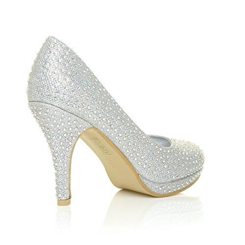Bailey Silver Mesh Diamante Wedding/Bridal/Prom Platform Court Shoes JvS1H