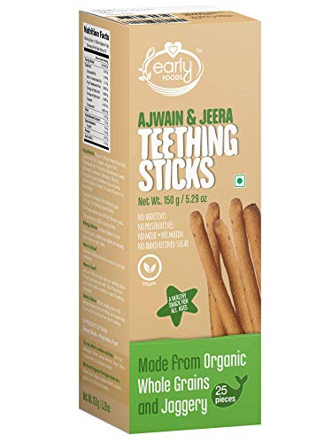 Early Foods Whole Wheat Ajwain Jaggery Teething Sticks – Ms, 150 g