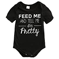 "Baby Girls Short Sleeve ""Feed Me and Tell Me I'm Pretty"" Bodysuit(Black,0-6M)"