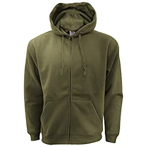 Fruit Of The Loom Mens Zip Through Hooded Sweatshirt / Hoodie (XXL) (Classic Olive)