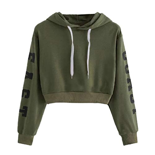 Hoodie Sweatshirt,Toimoth Womens Autumn Long Sleeve Hoodie Sweatshirt Letters Hooded Pullover Tops Blouse(Army Green,L)