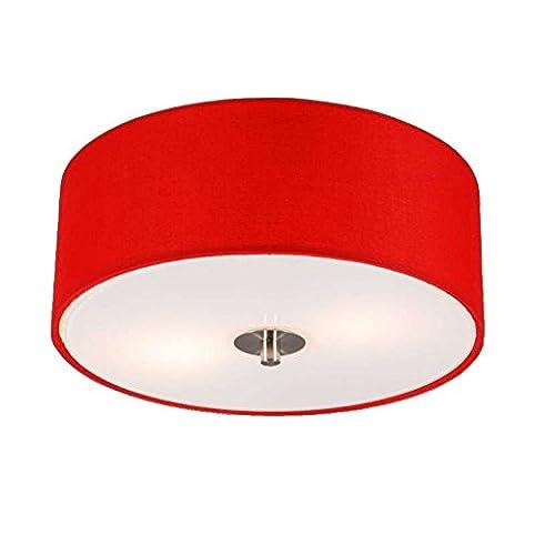 QAZQA Modern Deckenleuchte Deckenlampe Lampe Leuchte Drum Mit Schirm 30 Rund Rot
