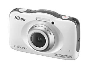 Nikon COOLPIX S32 13.2 MP Waterproof Digital Camera with Full HD 1080p Video (White) (Certified Refurbished) from Nikon
