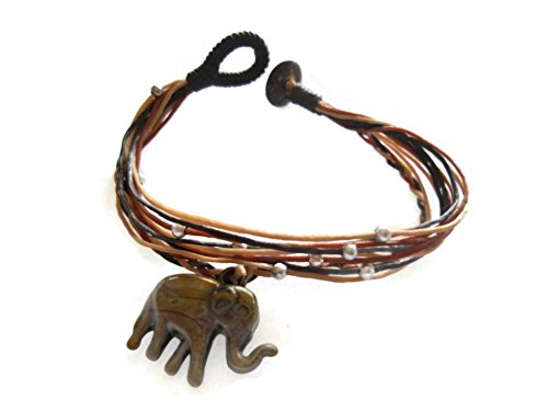 [by Angel Bangle Bracelets in Multiple Strings with Hanging Rusty Color Elephant] (Vegas Superstar Costumes)