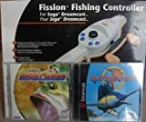 Sega Dreamcast Fishing Rod & Reel Pole Controller Plus Bass & Marine Fishing Games