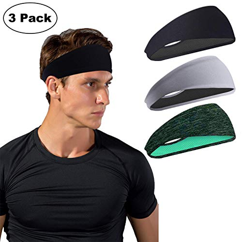 HHOOMY Sport Headbands for Men and Women 3 Packs - Mens Sweatband & Sports Headband Moisture Wicking Workout Sweatbands for Running, Cross Training, Yoga