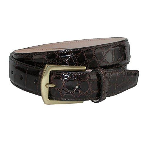 (CrookhornDavis Men's American Alligator 32mm Belt, 40, Dark Brown )