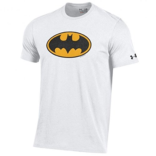 Under Armour Men's-Alter Ego-Batman-Charged Cotton-Performance T-Shirt-White/Black and Yellow Shield-Small