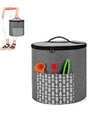 Yarwo Pressure Cooker Dust Cover with Bottom Compatible with 6 Quart Instant Pot, Portable Storage Bag with Pockets and Top Handle, Gray with Arrow (Cover Only Patented Design)