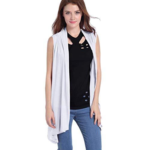 Abrigo Primavera Blanco Básicos Moda Tejido Chaleco Mangas Sin Mujer Ropa Camisolas Joven Chalecos Irregular Color Señora Otoño Sólido 5YxFTBwx