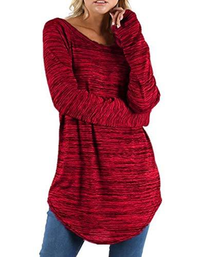 Tops Mode Manches Jumpers Tunique Automne Chemises T Sweat Longue Pulls Hauts Blouse Printemps et Casual Rond Chemisiers Shirt Shirts Col Longues Femmes awZZx
